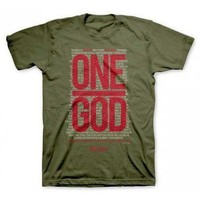 Military Army Green ONE GOD Christian Gear Mens T Tee Shirt Top Size Medium M