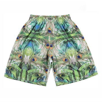Abstract Feather Fractal Shorts