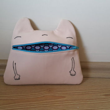 Pink  Monster Zip Purse, Makeup Bag, Coin Purse, Small Accessory Pouch FREE SHİPPİNG