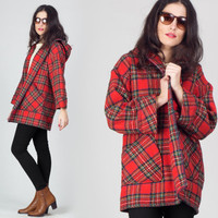 60s Red Tartan Hooded Coat / Open Lapel Plaid Wool Coat / Mid Century Check Hood Medium M Jacket