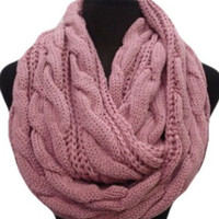 Warm Up SALE: Warm and Cozy Big and Thick Cranberry Pink Infinity Scarf