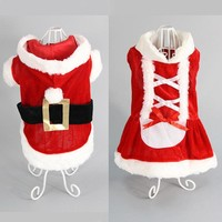 Red Pet Dog Clothes Christmas Costume Cartoon Clothes For Small Dog Cloth Costume Dress Winter Apparel Coat Apparel fashion