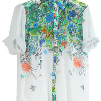 ROMWE | White Gradient Floral Blouse, The Latest Street Fashion