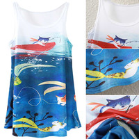 White Summer Fish And Cat Print Tank Top