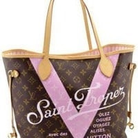 Tagre™ ONETOW Louis Vuitton Pink Monogram V Neverfull Mm Saint Limited Edition Brown Tote Bag