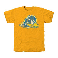 Delaware Fightin' Blue Hens Distressed Secondary Tri-Blend T-Shirt - Gold