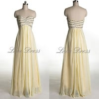 Grecian Beaded Strapless Neutral A-line Prom Gowns