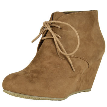 Womens Ankle Boots Suede Low Heel Lace Up Casual Wedges Tan