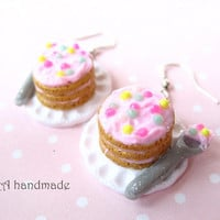Kawaii cake with a spoon on a plate earrings