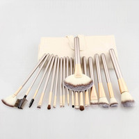 18 Pcs Champagne Color Fiber Hairy Makeup Brushes Set with PU Storage Bag