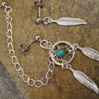 Asymetrical Turquoise Dream Catcher Earrings Feathers and Chain