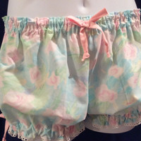 Size Medium/Large  Womens Cotton Bloomers Vintage Shabby Chic Aqua and Pink Rose print trimmed in white Eyelet