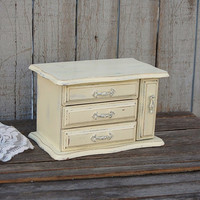 Shabby Chic Jewelry Box, Ivory, Silver, Upcycled, Hand Painted, Waxed, Wood