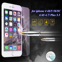 0.3mm Ultrathin Tempered Glass Protector Clear Case for Apple iphone 4 4S 5 5S 5C 7 6 6S Plus Protective Film Cover Accessories