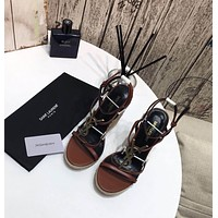 ysl women casual shoes boots fashionable casual leather women heels sandal shoes 7