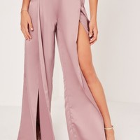 Missguided - Satin Split Front Wide Leg Trousers Lilac