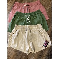 Rope Drawstring Linen Shorts (Taupe, Mauve, and Olive)