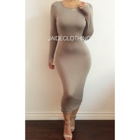 Taupe 'Let Your Back Out' Backless Long Sleeved Dress - Jaide Clothing