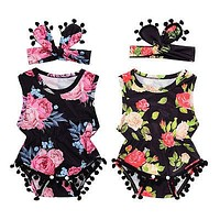 Summer born Toddler Baby Girl Floral Tassle Ball Romper Jumpsuit +Headband Infant Clothes Outfit Sunsuit