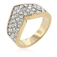 Chevron Pave Crystal Ring, size : 10