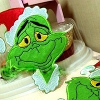 Big Grinch embroidered iron on/sew on patch/applique,