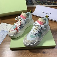 OF OFF-WHITE OFF WHITE Women's Leather Fashion Low Top Sneakers Shoes