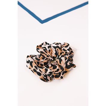 Leopard Scrunchie, Rust/Black