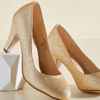In a Classic of Its Own Heel in Gold Sparkle | Mod Retro Vintage Heels | ModCloth.com
