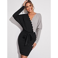 SHEIN Batwing Sleeve Scallop Trim Colorblock Belted Dress