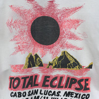 Vintage CABO SAN LUCAS Mexico T Shirt / July 11 1991 Cabo Total Eclipse Shirt / 90s Rad Retro Neon Red Pink Yellow Florescent / Unisex Tee