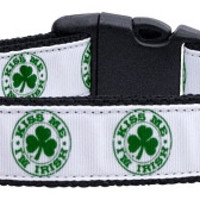 Kiss Me - I'm Irish Nylon Ribbon Dog Collars Large