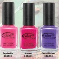 Color Club Electro Candy Neon Collection Nail Lacquer/Polish 7pc One Each of 6 Best Selling Neons + Vivid Top Coat- .6oz Each