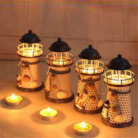 1 PC New Iron Tower Candle Holder Mediterranean-style Lighthouse Wrought Holiday Candlestick Home Wedding Party  Decor VF064P30
