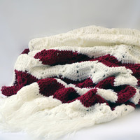 Burgundy chevron crochet blanket, wedding blanket, crochet throw, crochet afghan, crochet blanket, throw blanket, couch blanket