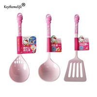Keythemelife 1PC Cartoon Hello kitty Long Handle Dinner Soup Spoons Hollow Spatula Plastic Spoon for Kitchen Cooking Tools 5C