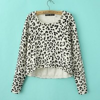 Leopard Long Sleeve Knit Crop Sweater