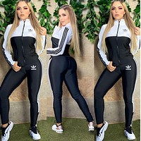 Adidas Women Casual Fashion Top Sweater Pullover Pants Trousers Set Two-Piece
