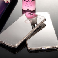 Hot! Luxury Mirror Electroplating Soft Clear TPU Cases For iphone 5 / 5S /6 6s 4.7 inch /6 Plus  6s plus 5.5 inch Back Cover