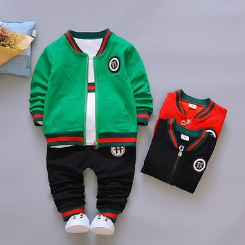 Kids 3PS Casual Baby Boys Clothes Autumn Girl Suit Children Clothing Girls Tracksuit O-Neck Solid Toddler Boys Set