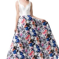 White floral formal dress #GP16320