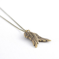 Long angel wings necklace. Bronze double wing necklace