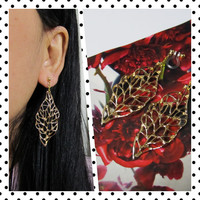 Autumn Golden Leaf clip on earrings |D14G| wedding clip on earrings, bridal clip on Non pierced earrings invisible clip on drop earring