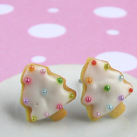 Christmas Earrings - Christmas Tree Sugar Cookie Earrings in Snow White