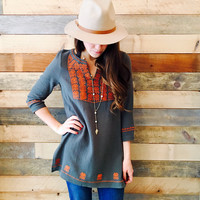 Olive You Embroidered Top