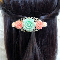 Vintage Style Rose Barrette Mint, Coral & Peach Silver Plated Filigree French Barrette Bridal Bridesmaid Hair Accessories