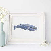 Watercolor Blue Whale Wall Art Print or Canvas
