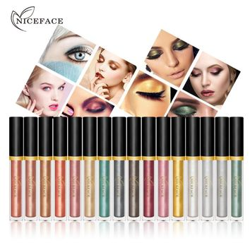 17 Colors Highlighter Metallic Eye Shadow Liquid Waterproof Pigments Glitter Shimmer Eyes Shadows Cream Sticker Cosmetic Makeup