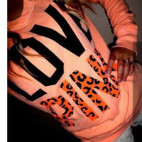 """Pink"" Victoria's Secret Letter Print Long Sleeve Top Blouse Pullover Sweater"