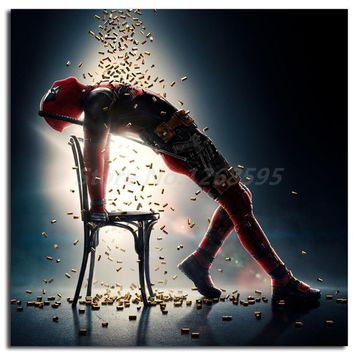 Deadpool Dead pool Taco Marvel Super Heroes HD Print  Bathing Bullet Pose Painting Living Room Wall Art Print On Canvas Home Bedroom Decoration AT_70_6