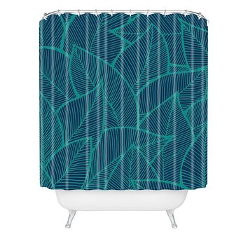 Arcturus Blue Green Leaves Shower Curtain